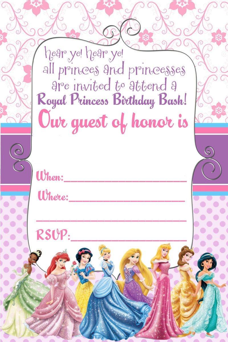 Free Printable Disney Princess Ticket Invitation   Free Printable - Free Printable Birthday Invitation Cards Templates