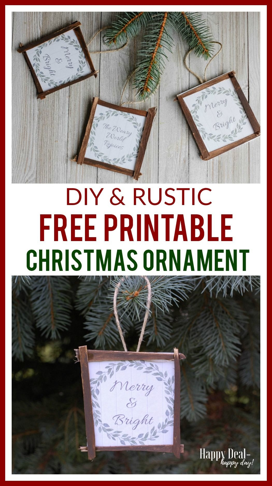 Free Printable Diy Rustic Christmas Ornaments! | Handmade Craft - Free Printable Christmas Decorations