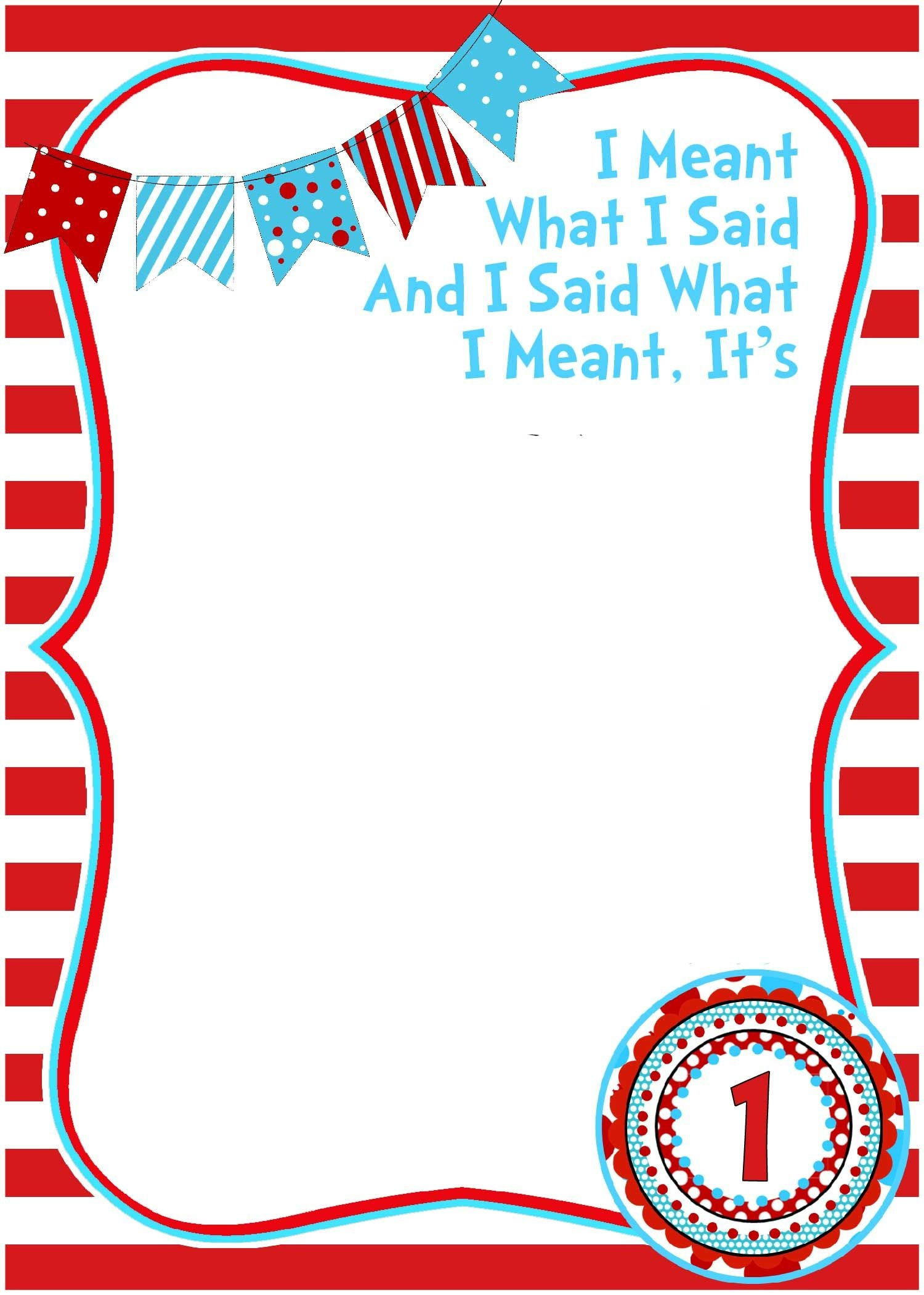 Free Printable Dr Seuss Birthday Invitations | Free Printable - Dr Seuss Free Printable Templates