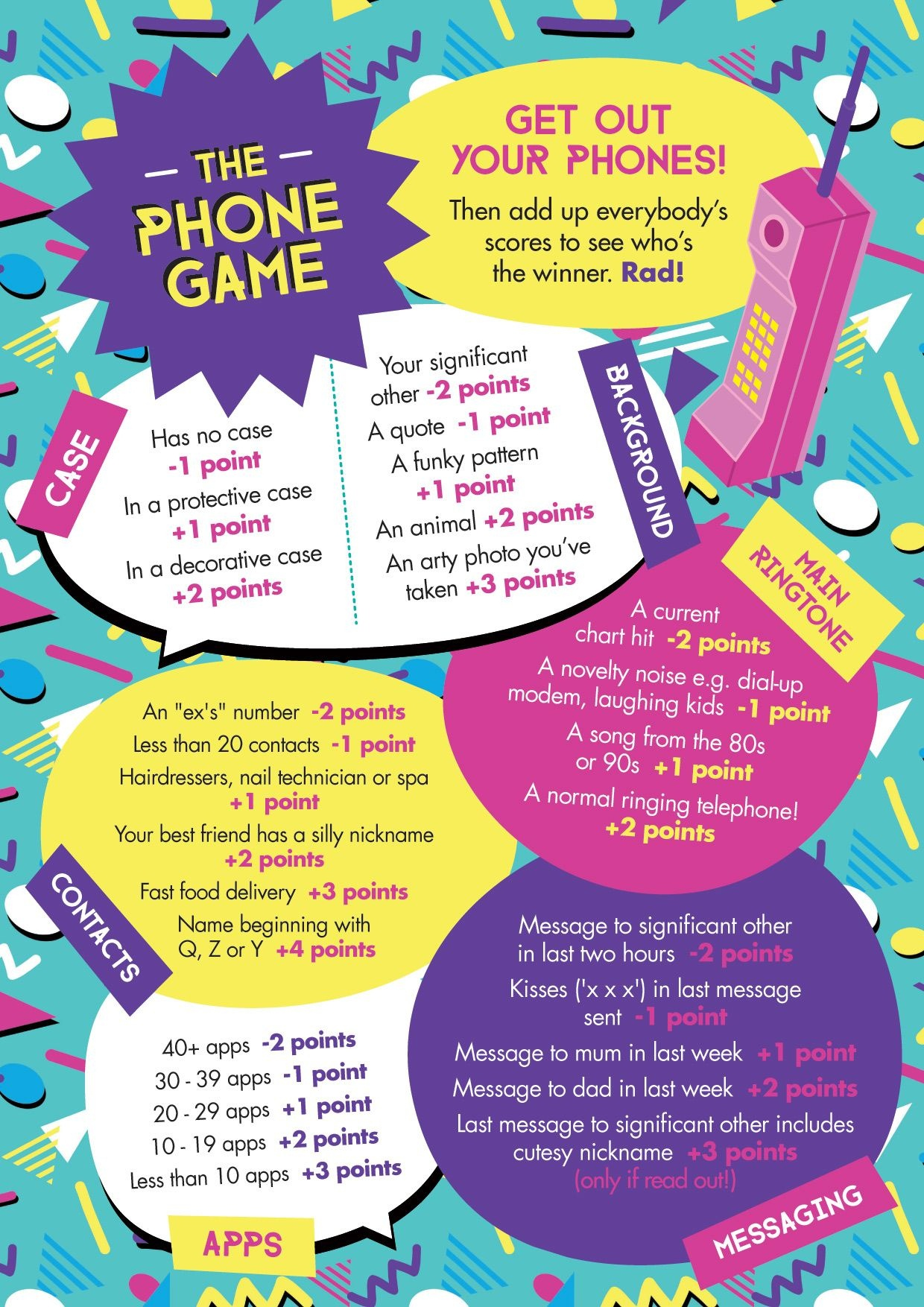 """Free Printable: Easy, Simple """"the Phone Game""""! Hen Party Game Idea - What's In Your Cell Phone Game Free Printable"""