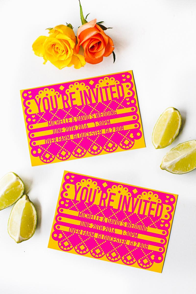 Free Printable & Editable Papel Picado Mexican Wedding Invitation - Free Printable Fiesta Invitations