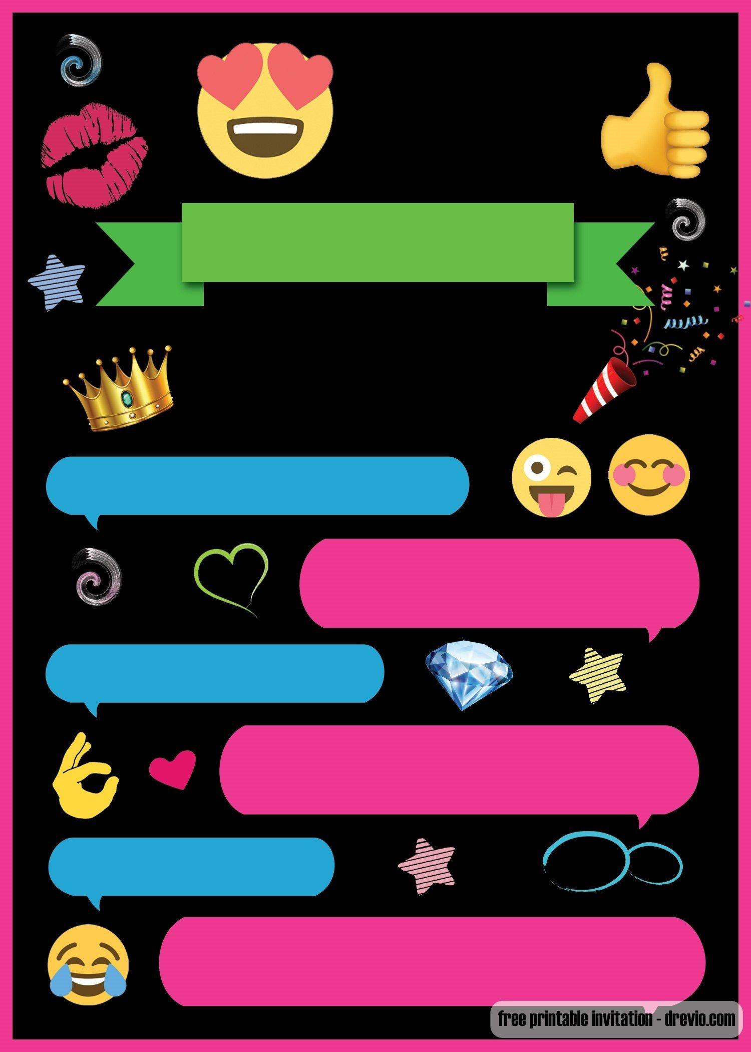 Free Printable Emoji Chat Invitation   Q Party   Birthday Party - Emoji Invitations Printable Free