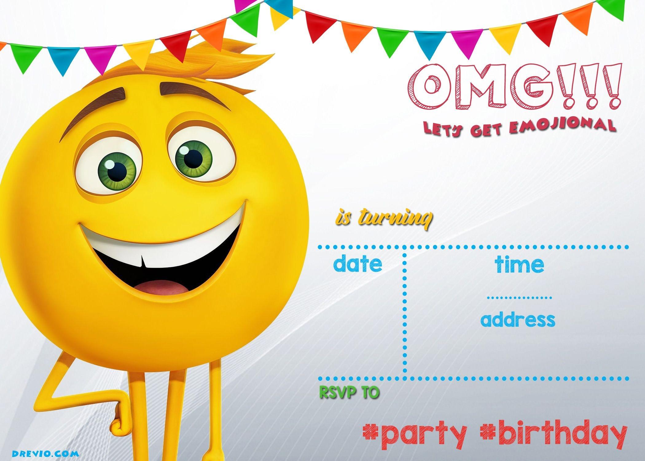 Free Printable Emoji Invitation Template   Blake   Emoji Invitations - Emoji Invitations Printable Free