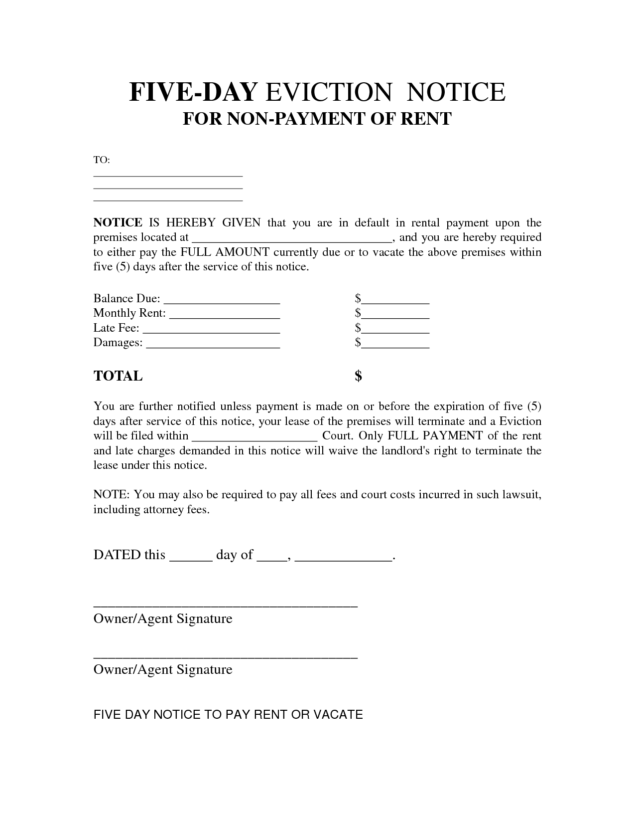 Free Printable Eviction Notice Letter | Bagnas - 5 Day Eviction - Free Printable Eviction Notice