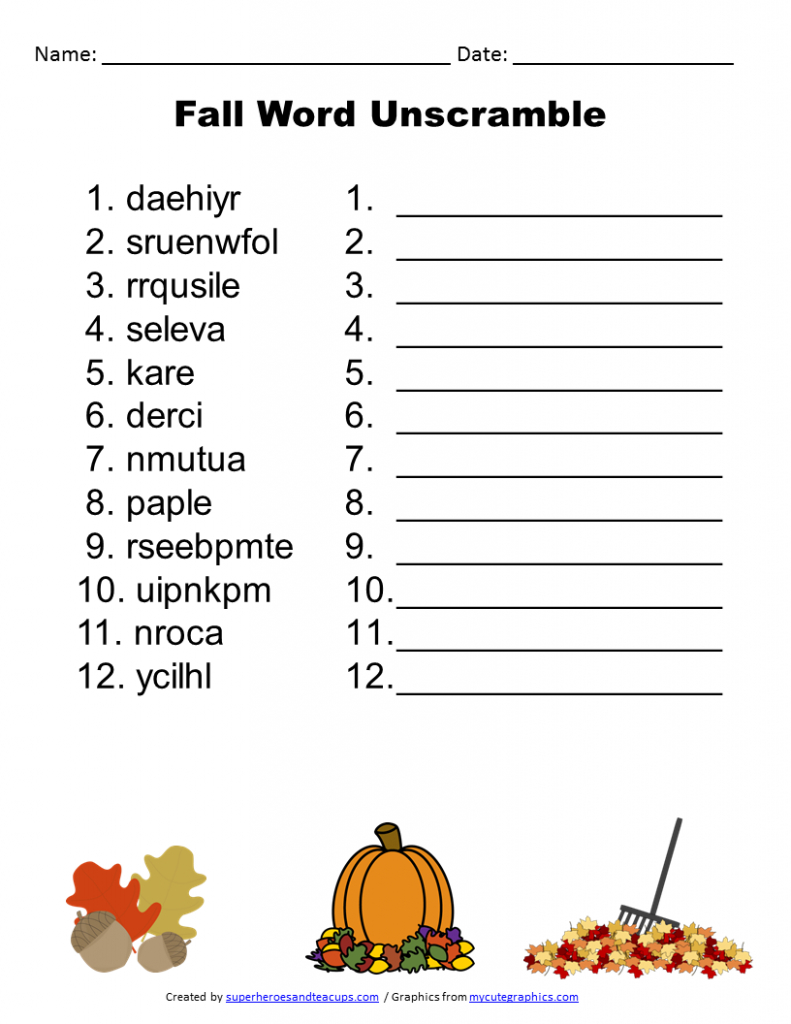 Free Printable - Fall Word Unscramble   Games For Senior Adults - Unscramble Word Games Printable Free