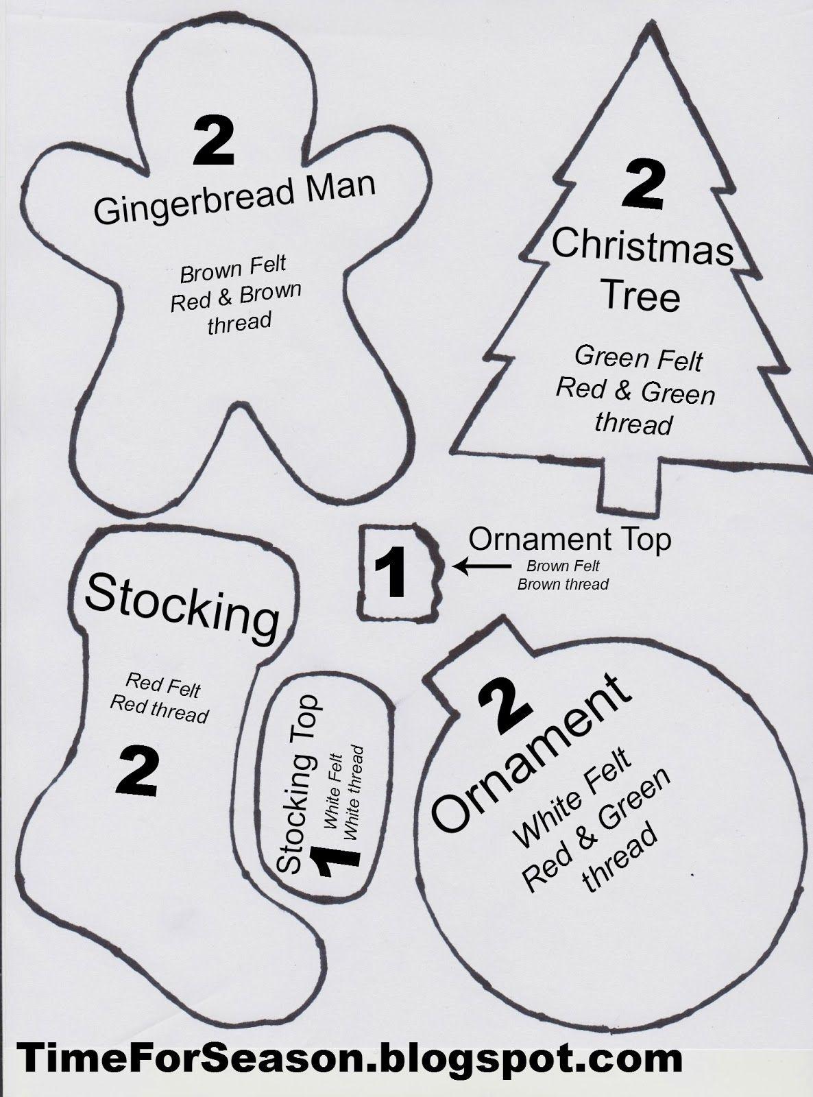 Free Printable Felt Christmas Ornament Patterns | Crafts | Printable - Free Printable Christmas Ornament Patterns