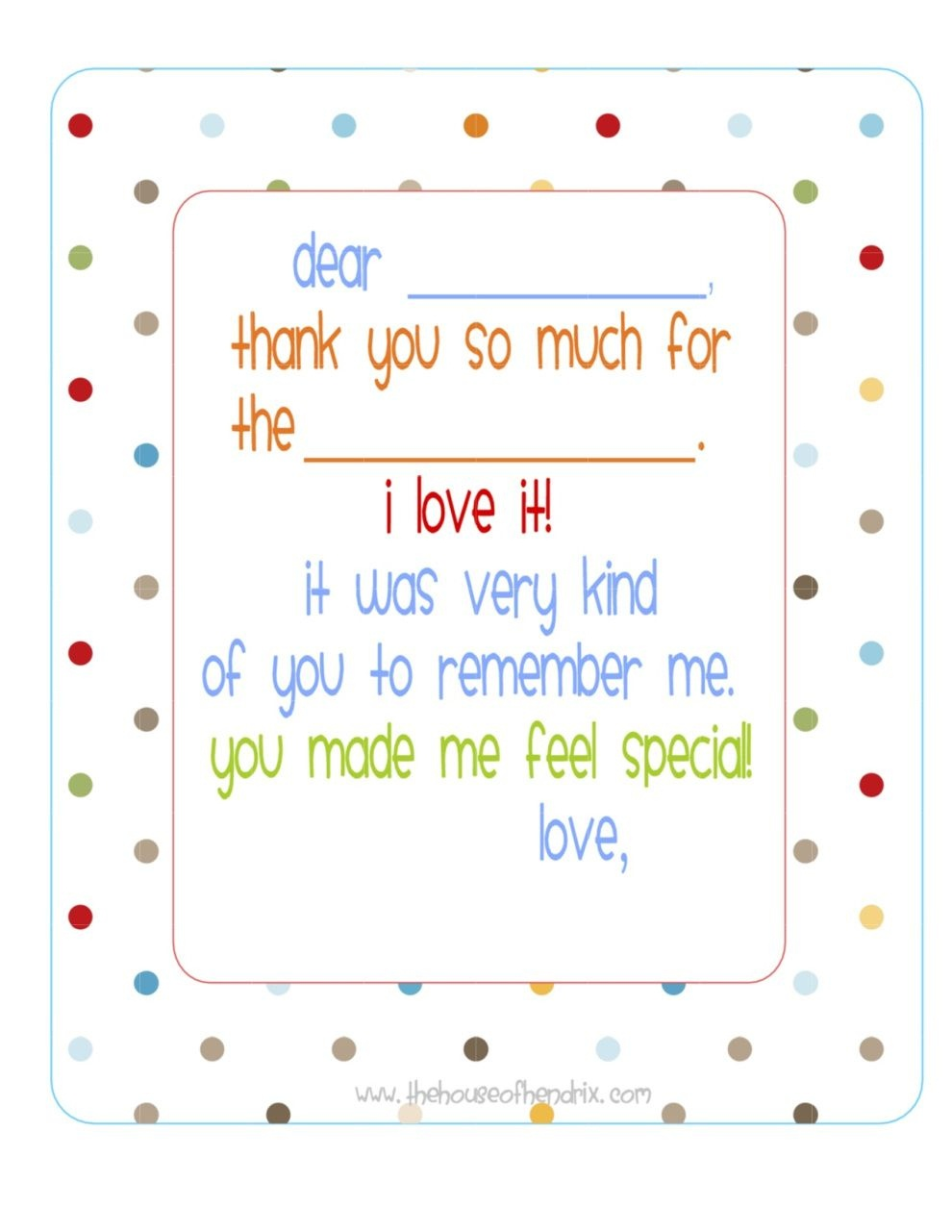 Free} Printable Fill In The Blank Thank You Note (Polka Dots) | Misc - Fill In The Blank Thank You Cards Printable Free