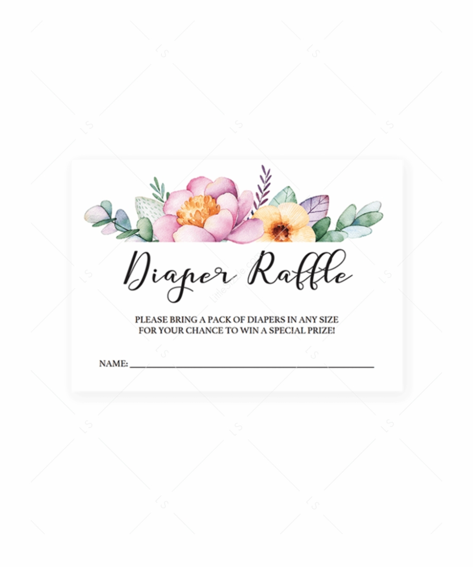 Free Printable Floral Diaper Raffle Tickets Free Png Images - Diaper Raffle Free Printable