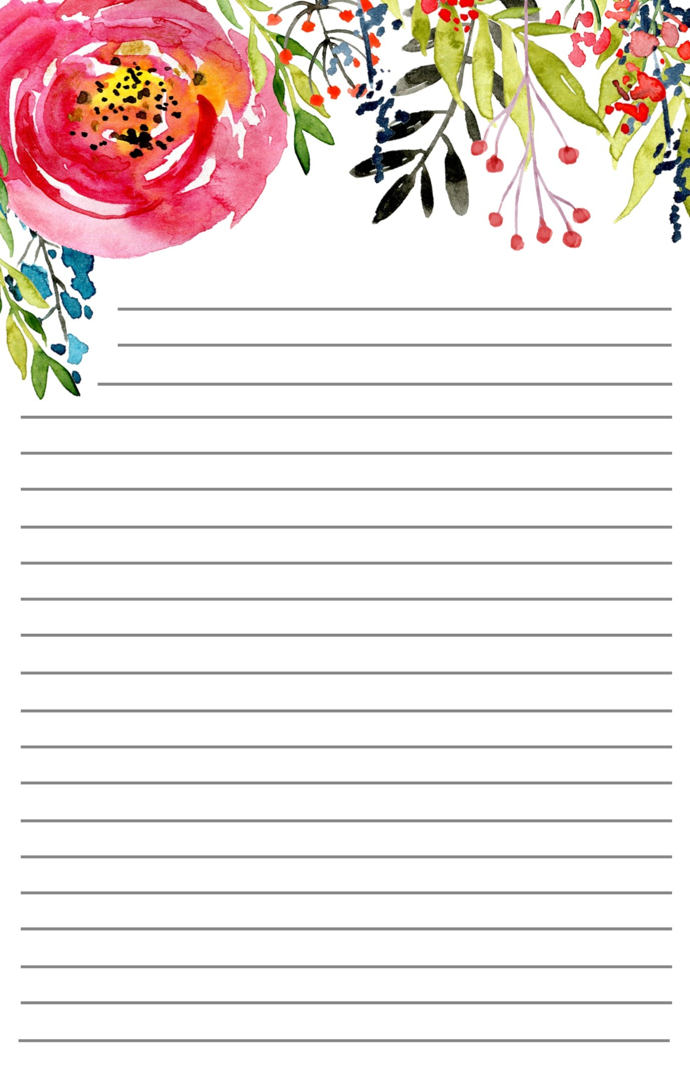 Free Printable Floral Stationery - Paper Trail Design - Free Printable Stationery Paper