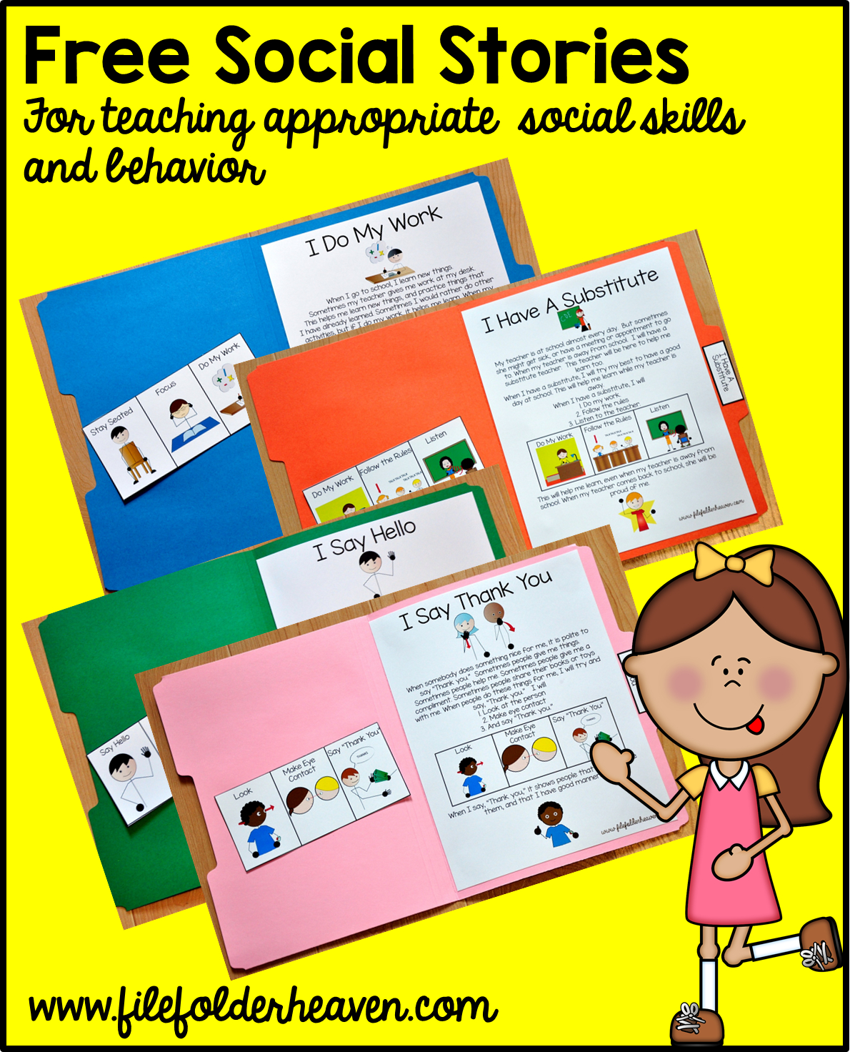 """Free, Printable """"folder Stories."""" Simple One Page Social Stories - Free Printable Social Skills Stories For Children"""