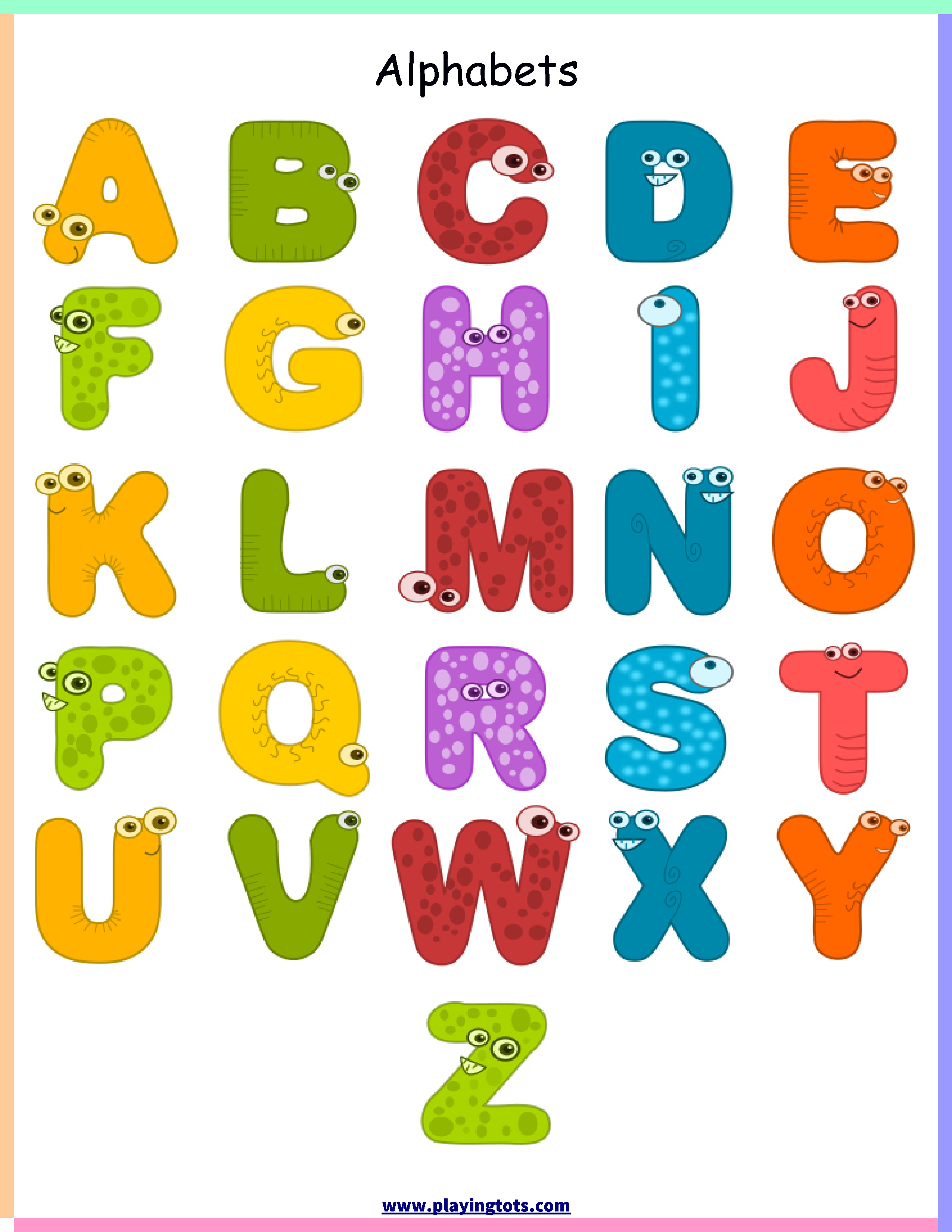 Free Printable For Kids (Toddlers/preschoolers) Flash Cards/charts - Free Printable Alphabet Chart