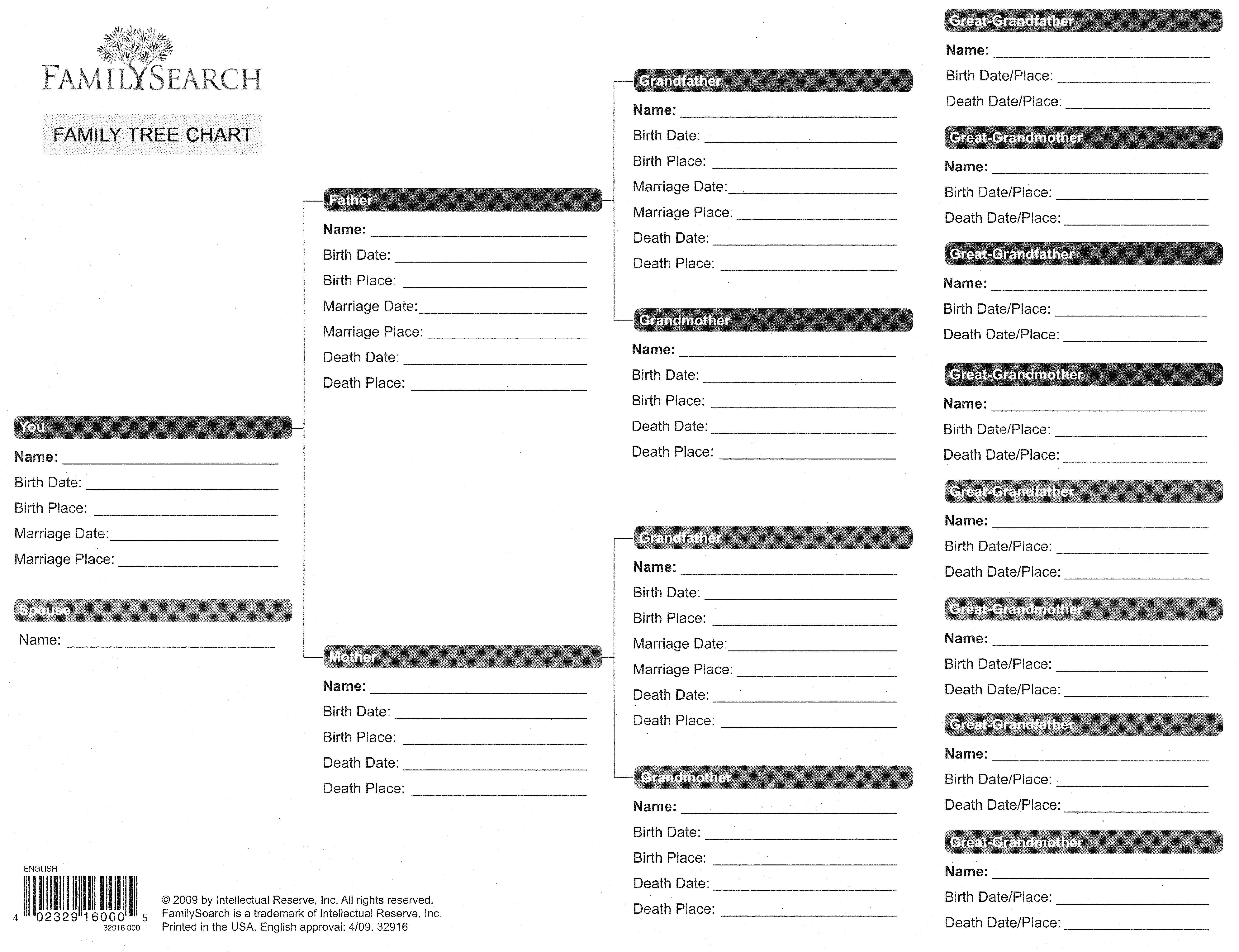 NEW 712 LDS FAMILY HISTORY WORKSHEET | family worksheet |Family History Sheet