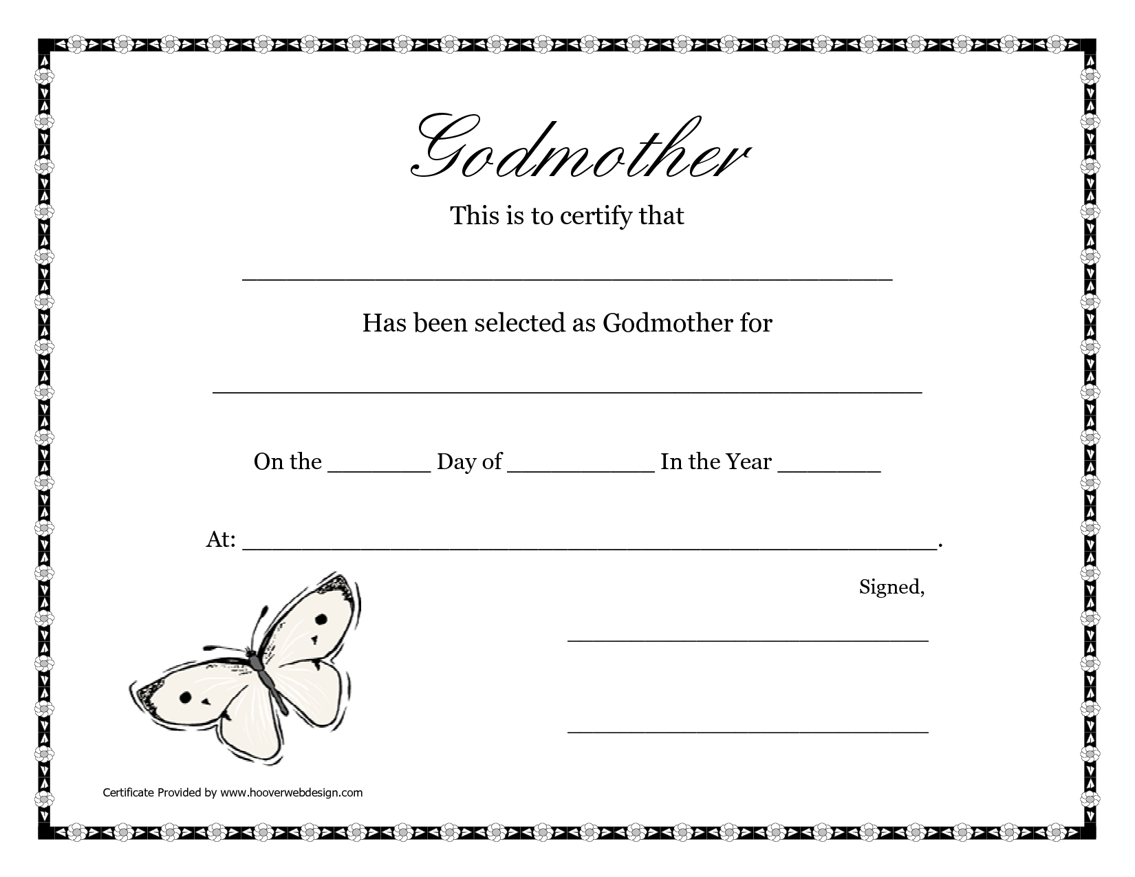 Free Printable Godparent Certificates | Printable Godmother - Free Printable Baptism Certificate