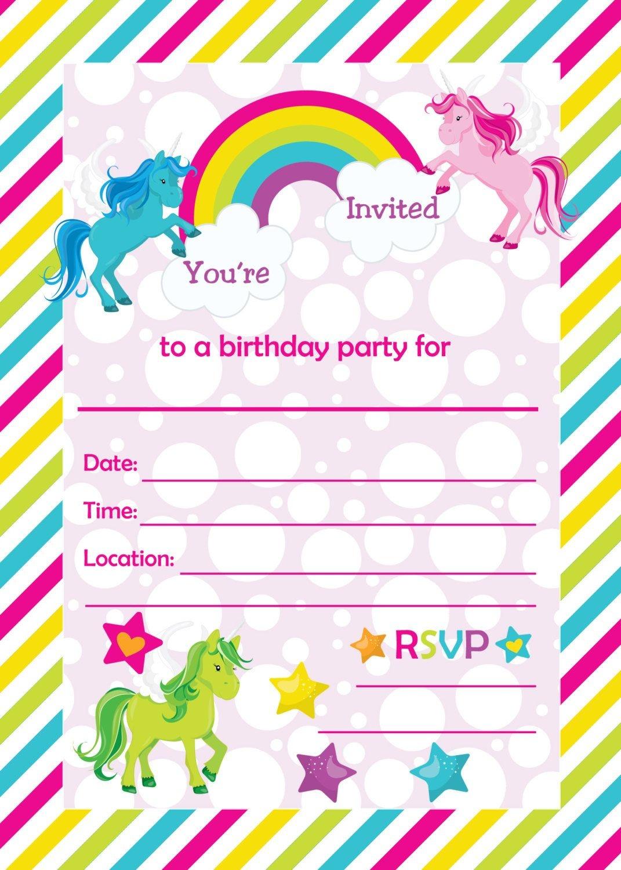 Free Printable Golden Unicorn Birthday Invitation Template - Free Printable Personalized Birthday Invitation Cards