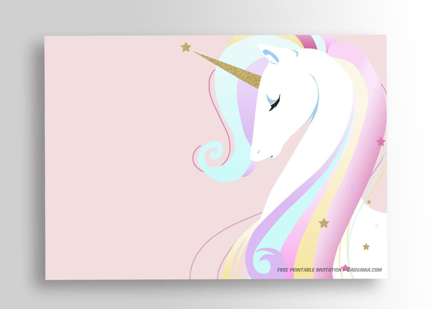 Free Printable Golden Unicorn Birthday Invitation Template | Party - Free Printable Unicorn Birthday Invitations