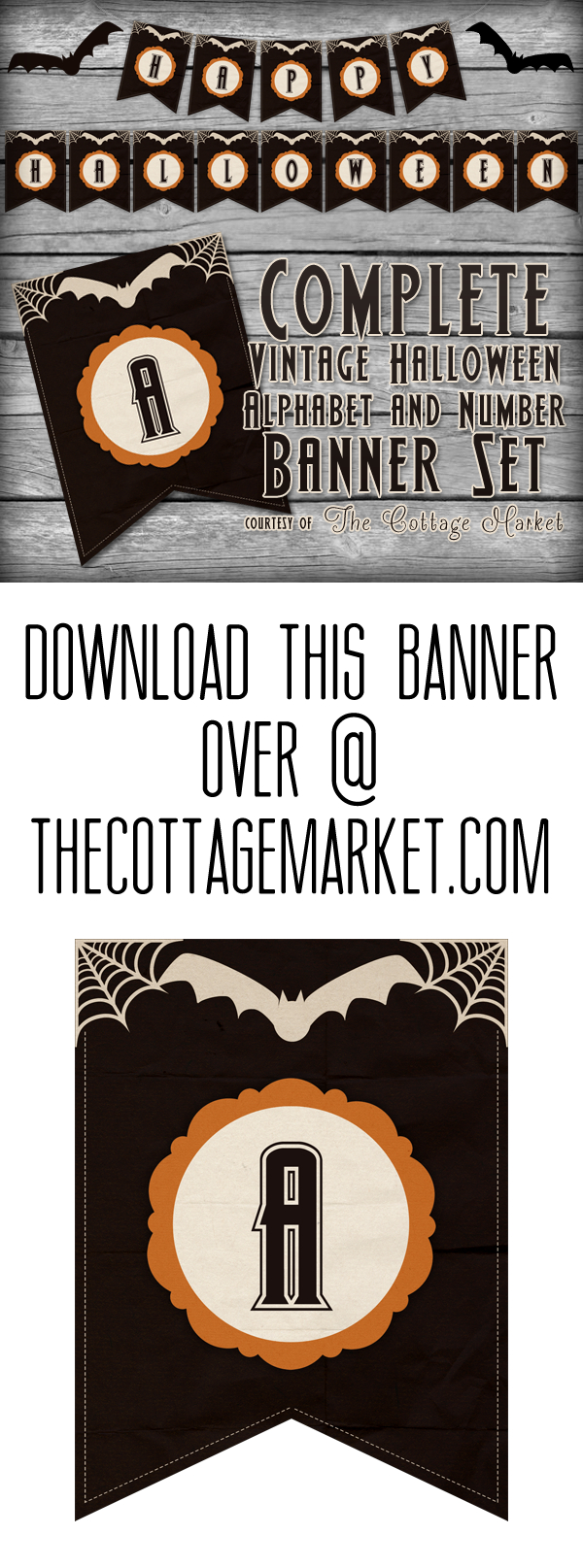 Free Printable Halloween Banner Set | The Cottage Market - Free Printable Halloween Banner