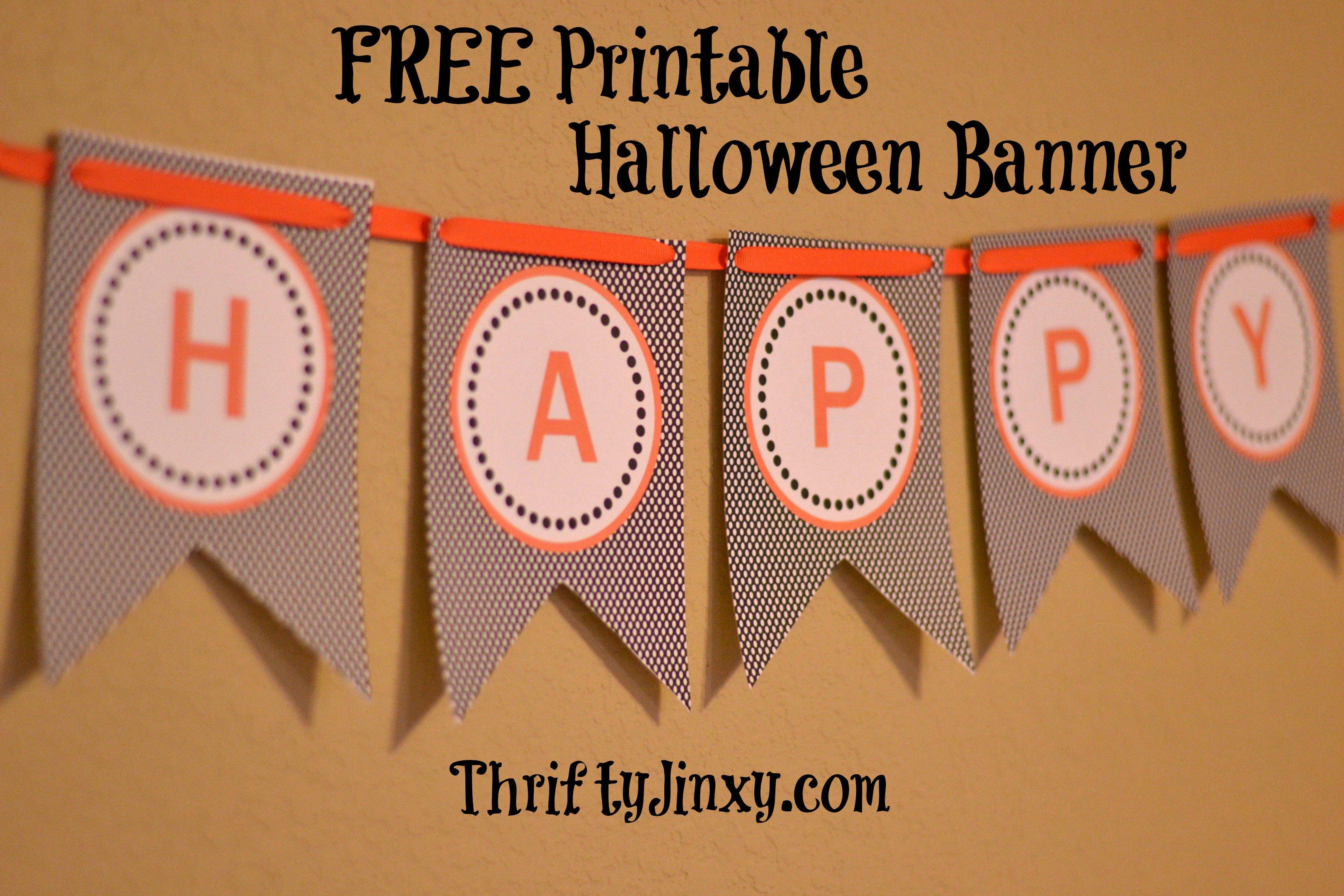 Free Printable Halloween Banner - Thrifty Jinxy - Free Printable Halloween Banner