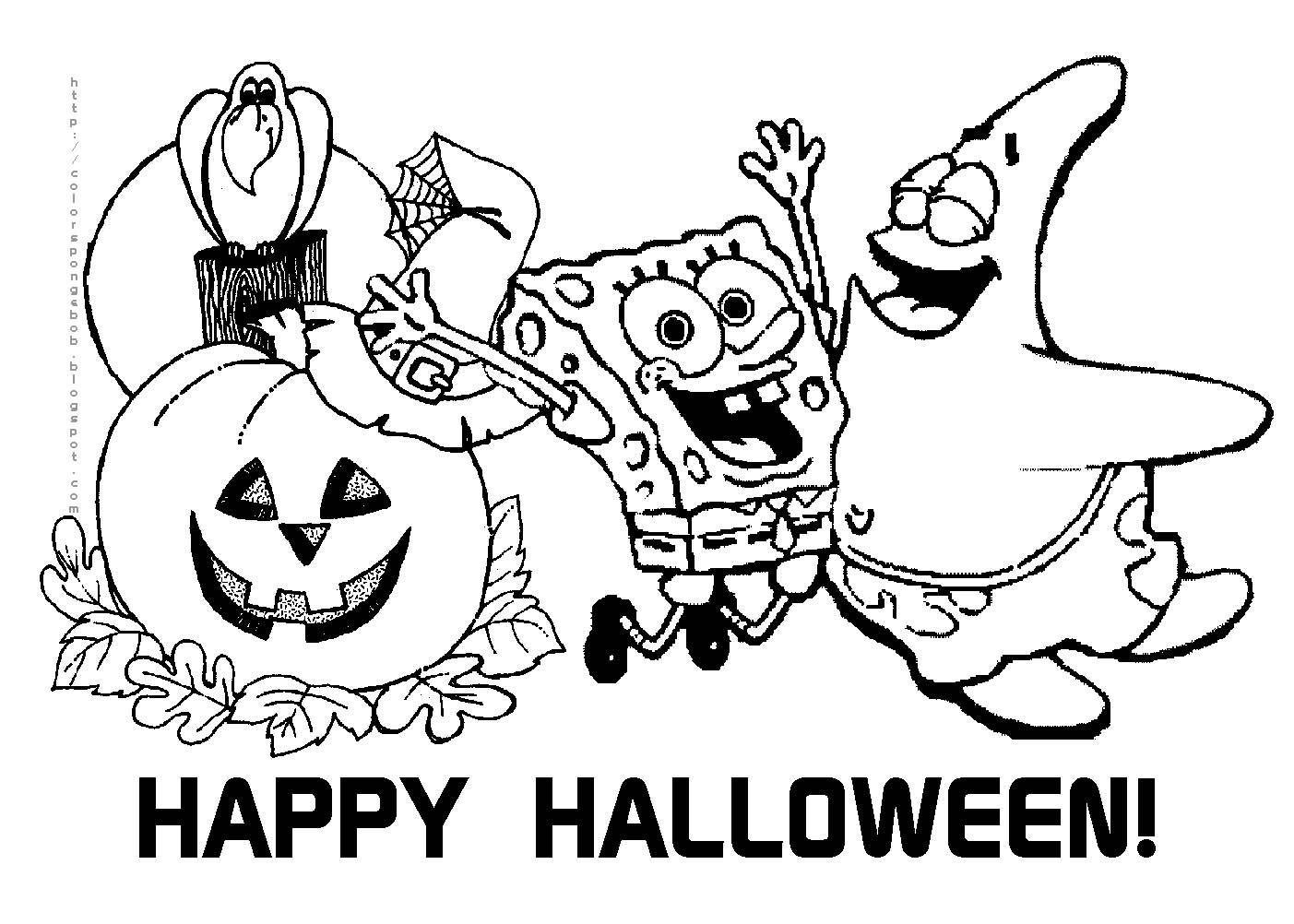 Free Printable Halloween Calendar   Halloween Spongebob Squarepants - Free Printable Halloween Coloring Pages