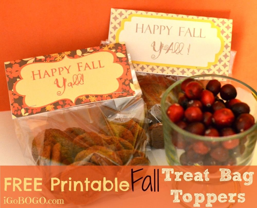"""Free Printable """"happy Fall Y'all"""" Treat Bag Toppers!   Affording The - Free Printable Thanksgiving Treat Bag Toppers"""