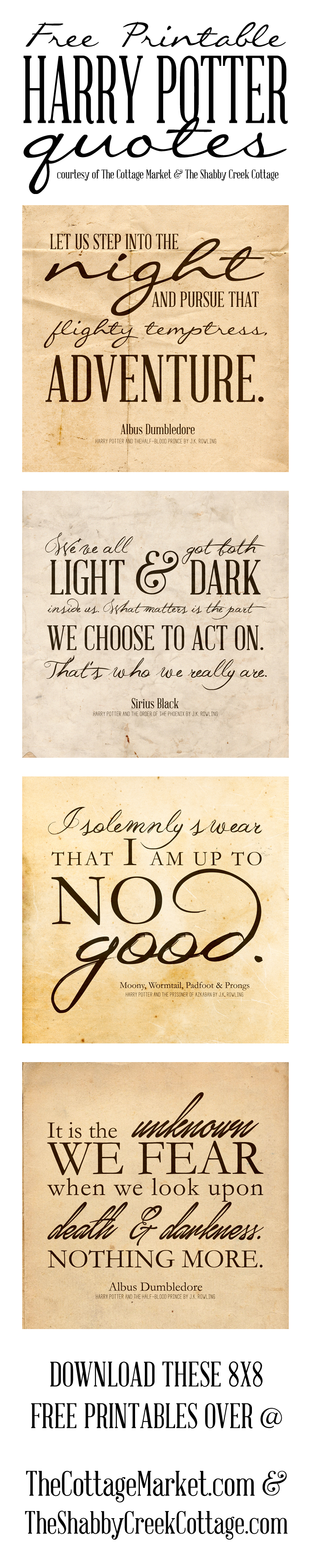 Free Printable Harry Potter Quotes | The Cottage Market - Free Printable Harry Potter Posters