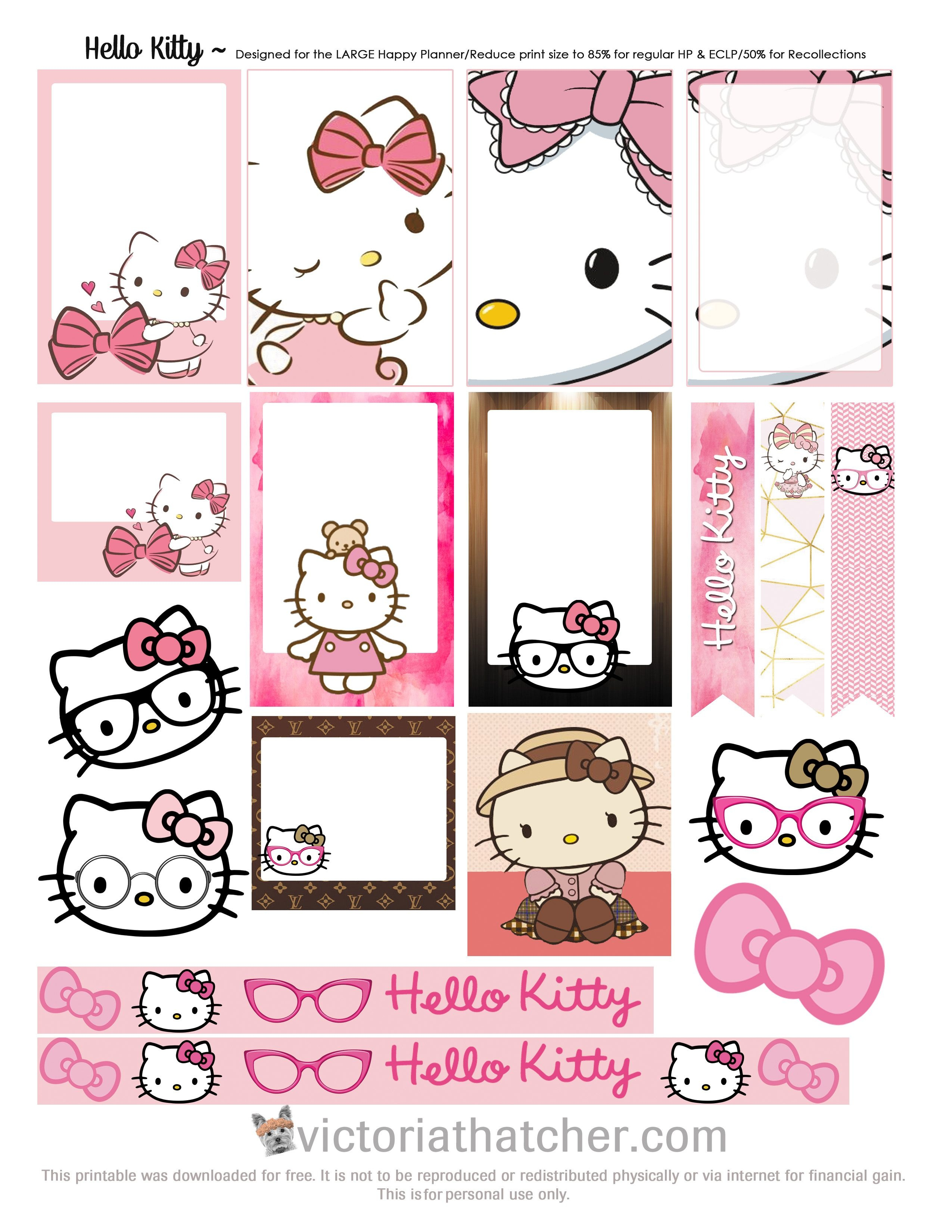 Free Printable Hello Kitty Planner Stickers From Victoria Thatcher - Free Printable Hello Kitty Pictures