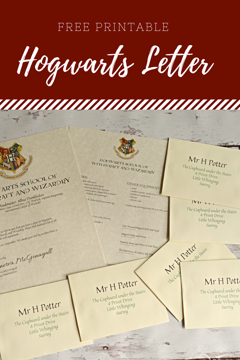 """Free Printable Hogwarts Letter 