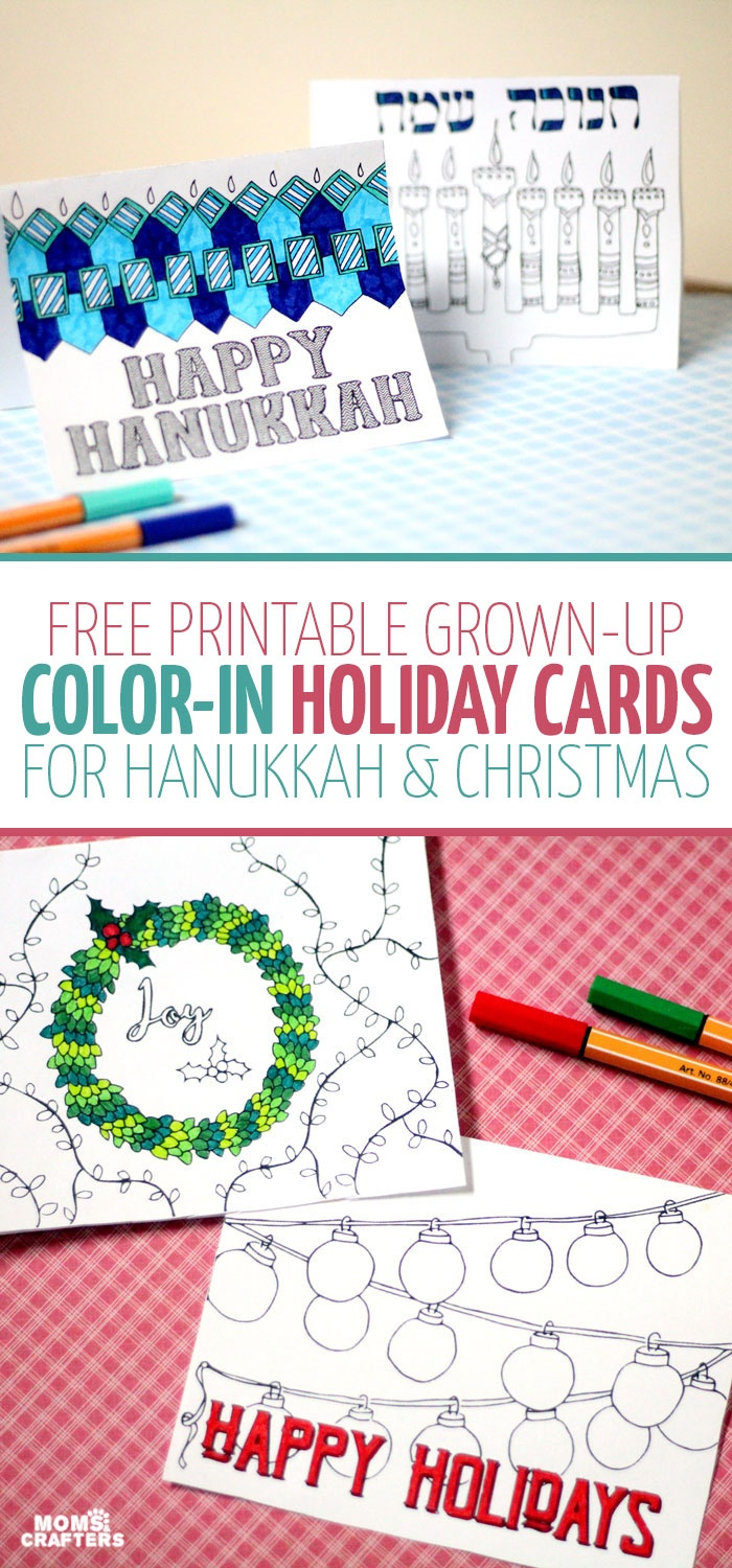 Free Printable Holiday Cards Adult Coloring Pages - Hanukkah + Christmas - Free Printable Holiday Cards