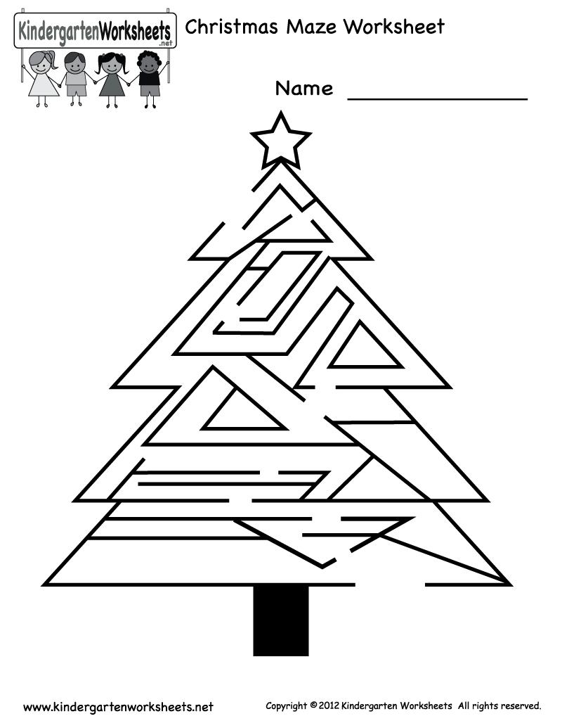 Free Printable Holiday Worksheets | Kindergarten Christmas Maze - Free Printable Holiday Worksheets