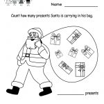 Free Printable Holiday Worksheets | Kindergarten Santa Counting   Free Printable Holiday Worksheets