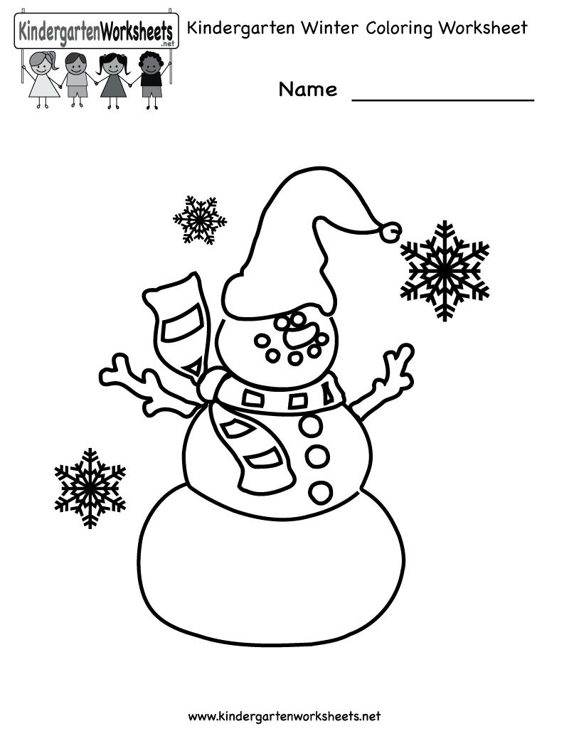 Free Printable Holiday Worksheets | Kindergarten Winter Coloring - Free Printable Winter Preschool Worksheets