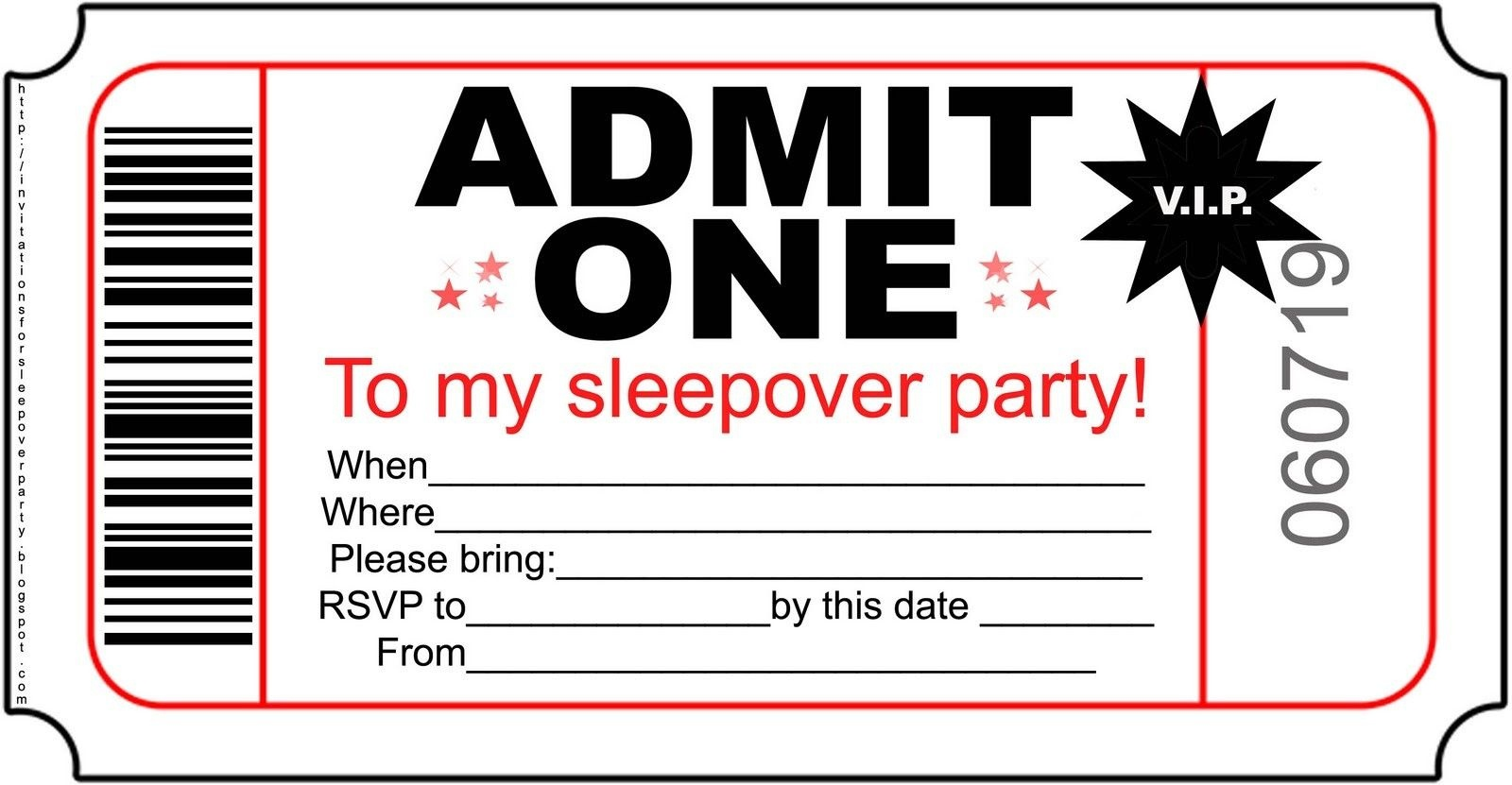 Free Printable Invitations For Kids Sleepover – Invitationlayout - Free Printable Movie Ticket Birthday Party Invitations