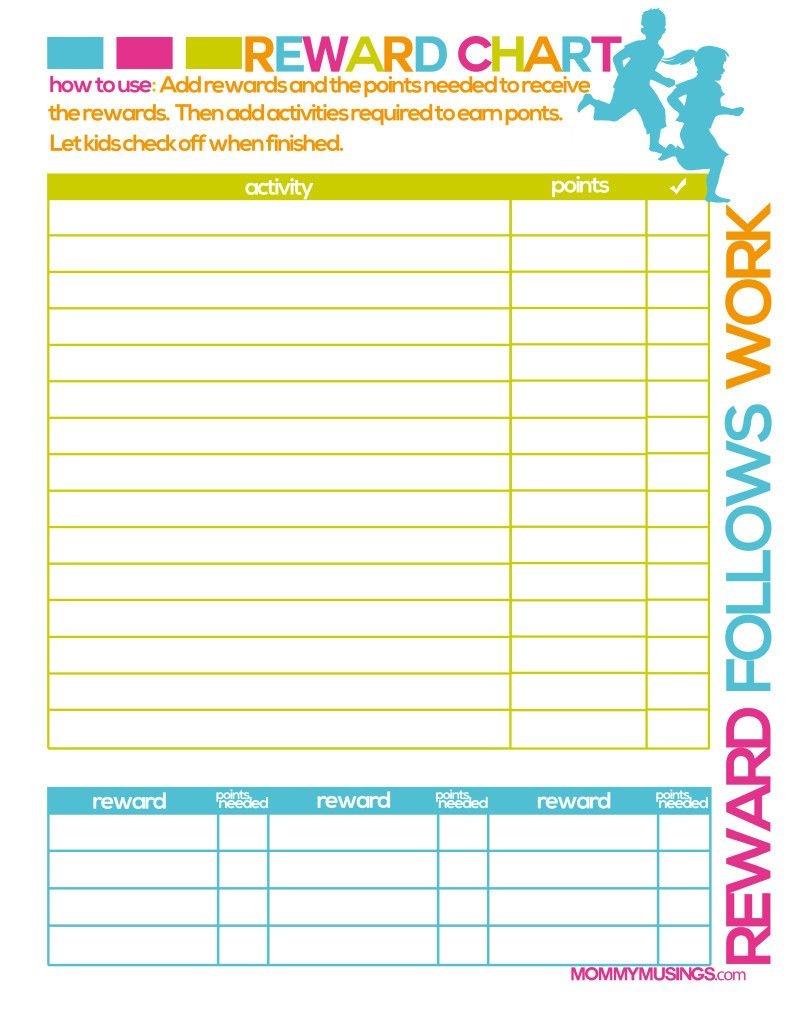 Free Printable Kids Chore & Rewards Chart | For The Home | Chores - Free Printable Reward Charts For Teenagers