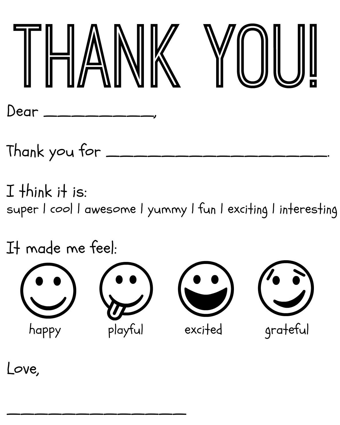 Free Printable Kids Thank You Cards To Color | Thank You Card - Free Printable Thank You Cards Black And White