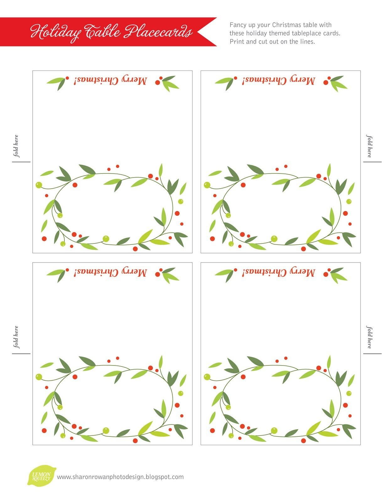 Free Printable Lemon Squeezy: Day 12: Place Cards   Work Stuff - Christmas Table Name Cards Free Printable