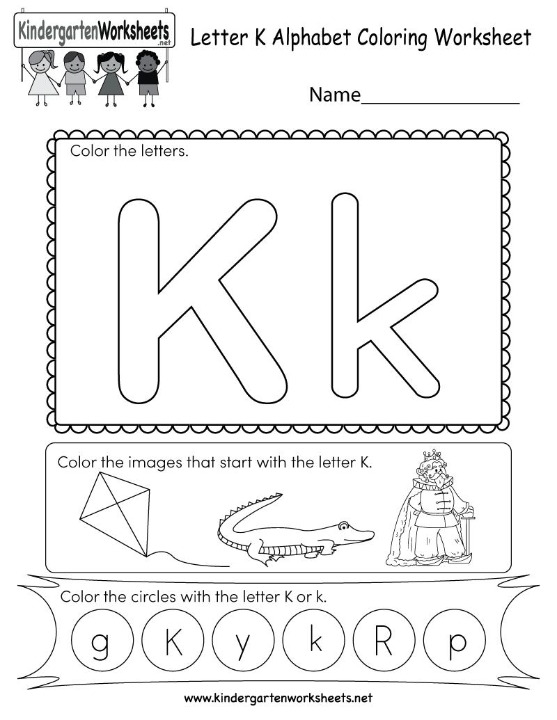 Free Printable Letter K Coloring Worksheet For Kindergarten - Free Printable Letter K Worksheets