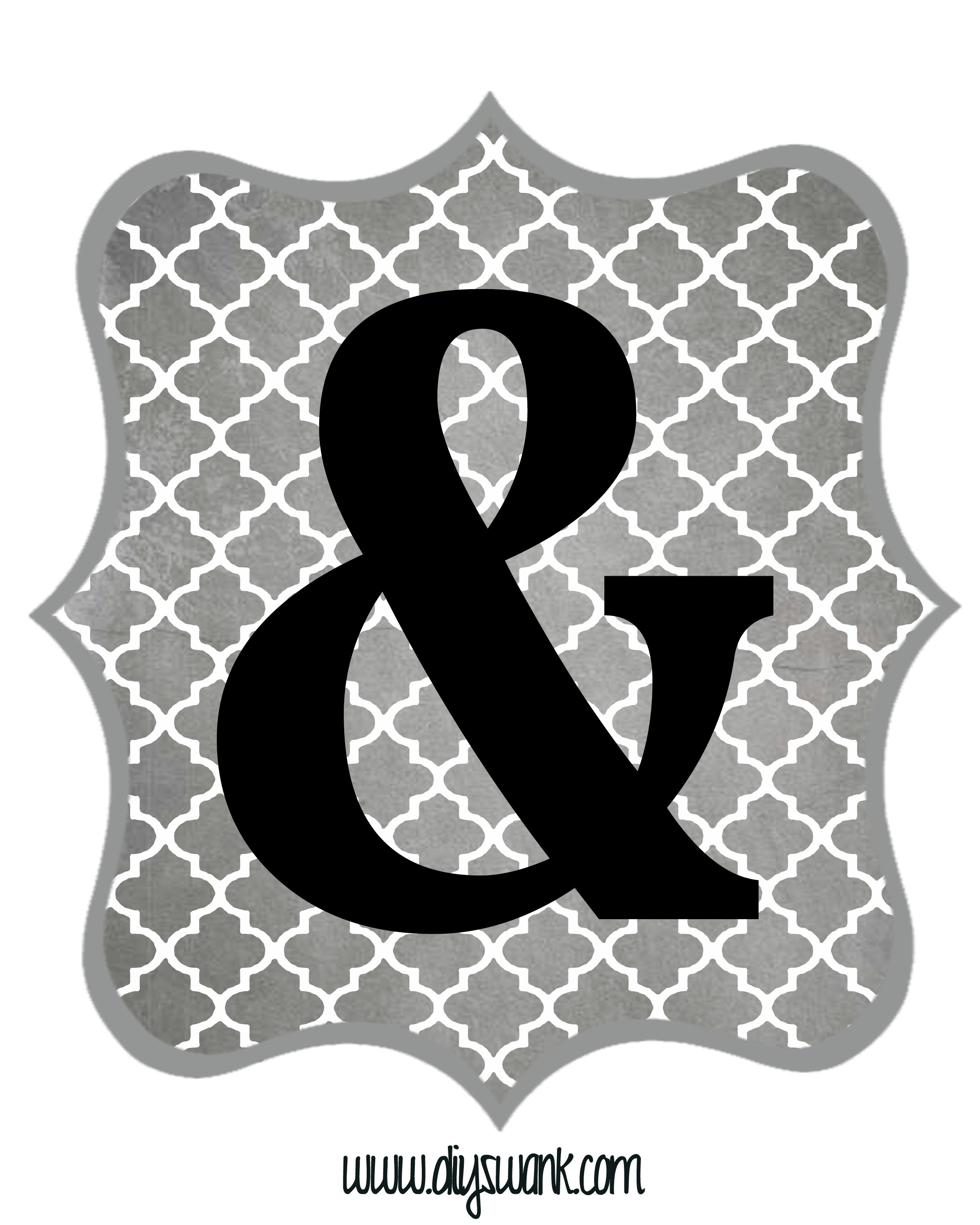 Free Printable Letters Gray And Black   Diy Swank - Free Printable Letters And Numbers