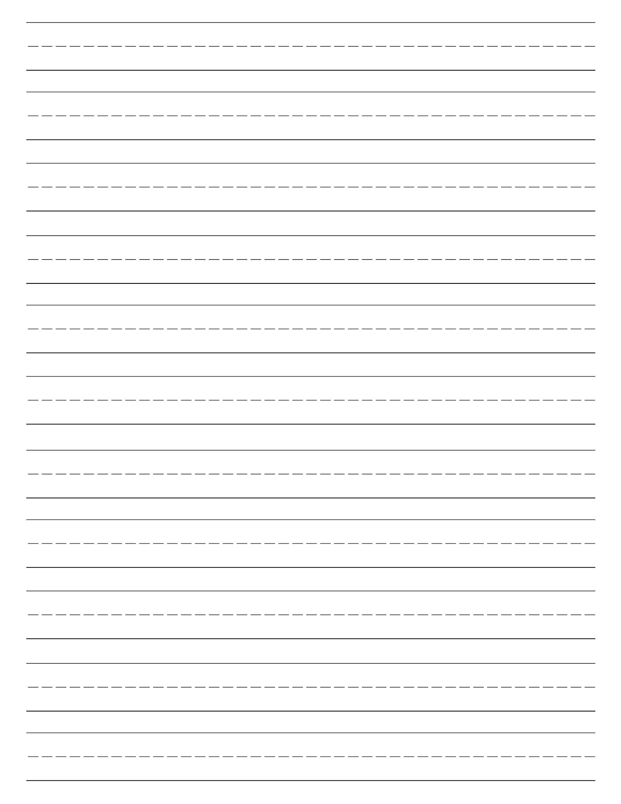 Free Printable Lined Paper {Handwriting Paper Template} | Preschool - Free Printable Kindergarten Lined Paper Template