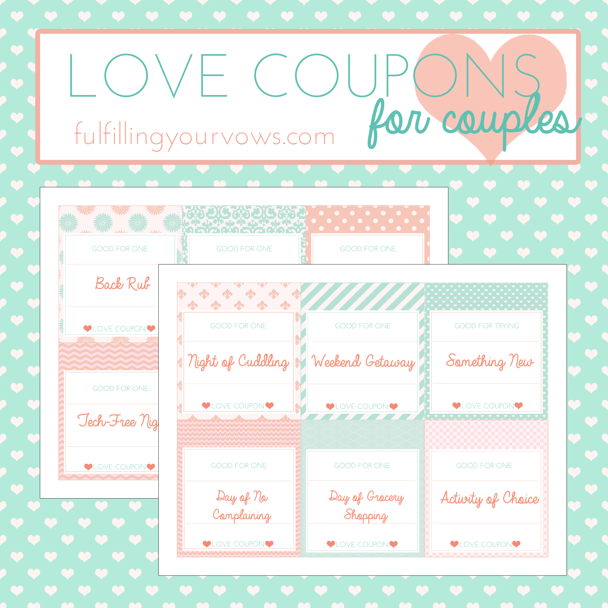 Free Printable Love Coupons For Couples - Fulfilling Your Vows - Free Printable Love Coupons