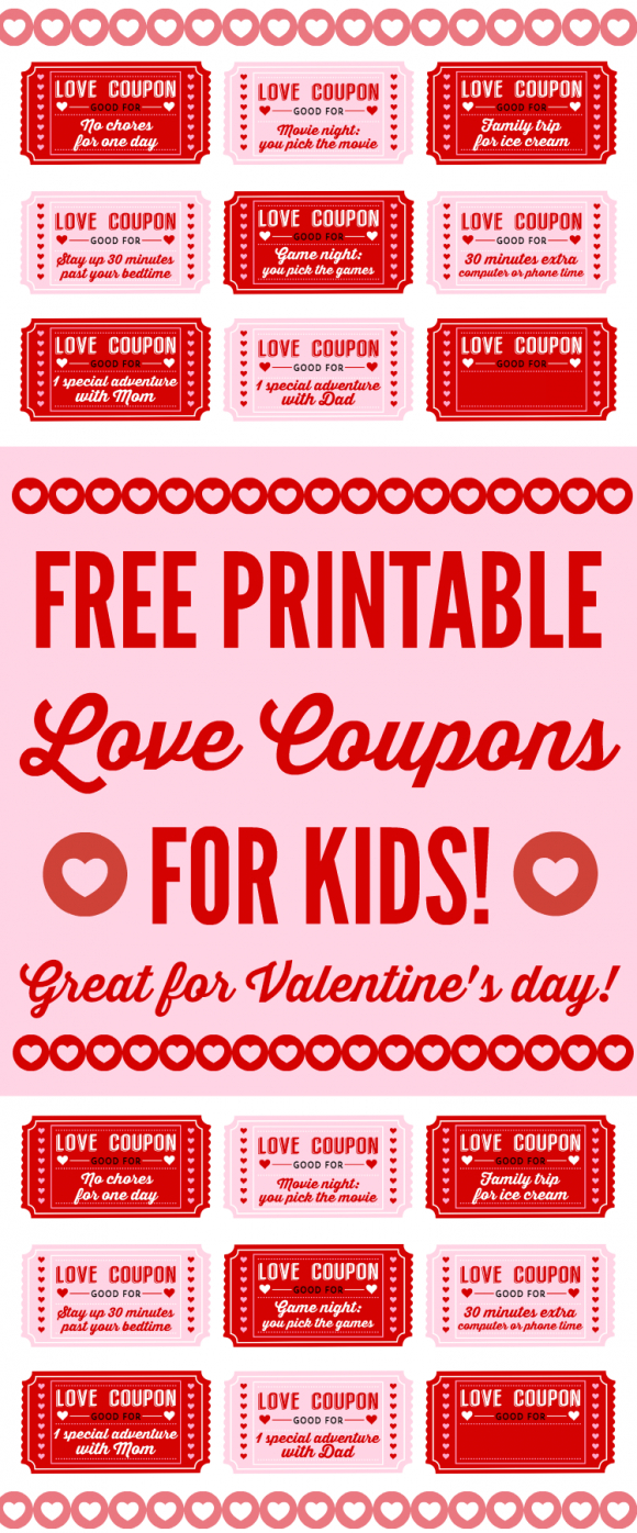 Free Printable Love Coupons For Kids On Valentine's Day - Free Sample Coupons Printable