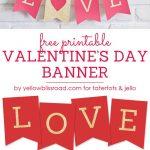 Free Printable Love Valentine's Day Glitter Banner | Valentine's Day   Free Printable Valentine's Day Decorations