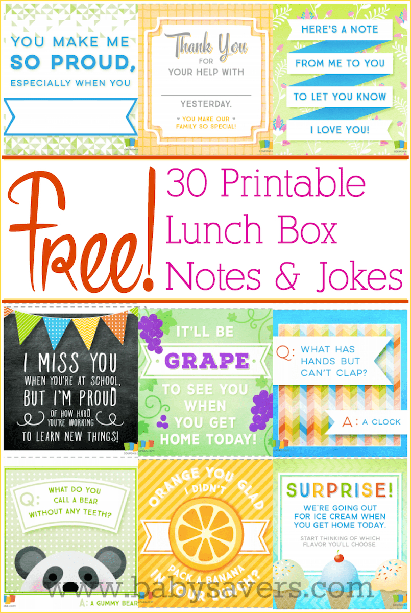Free Printable Lunch Box Notes And Jokes For All Ages! - Free Printable Lunchbox Notes