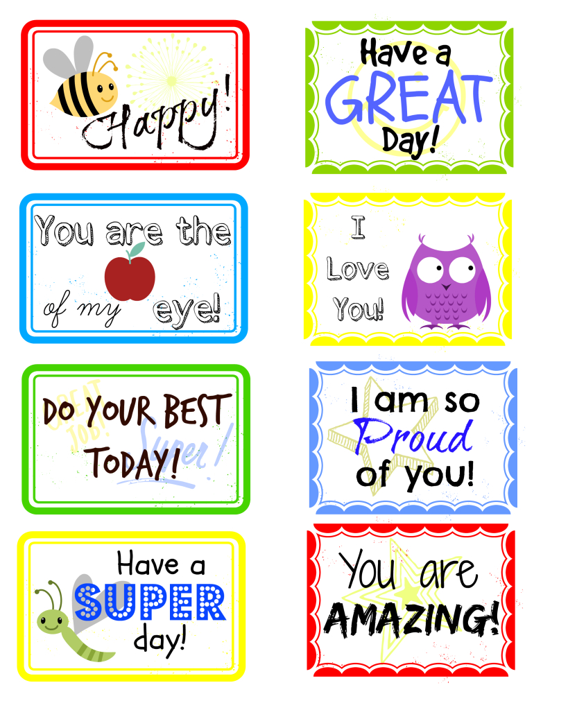 Free Printable Lunch Box Notes To Put A Smile On Your Child's Face - Free Printable Lunchbox Notes