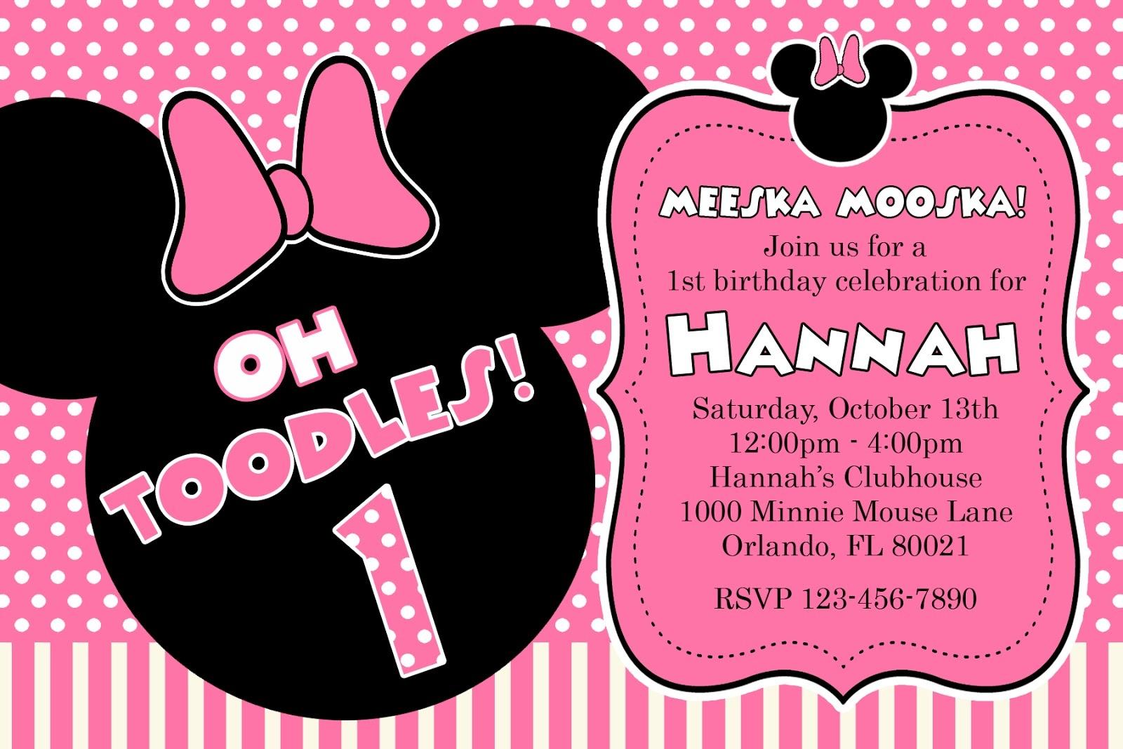 Free Printable Minnie Mouse 1St Birthday Invitations — Birthday - Free Printable Minnie Mouse Party Invitations
