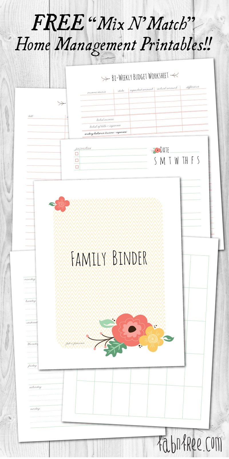 Free Printable Mix & Match Home Management Binder | // Free - Free Printable Household Binder
