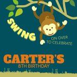 Free Printable Monkey Animal Birthday Invitation Template Idea   Free Printable Monkey Birthday Party Invitations