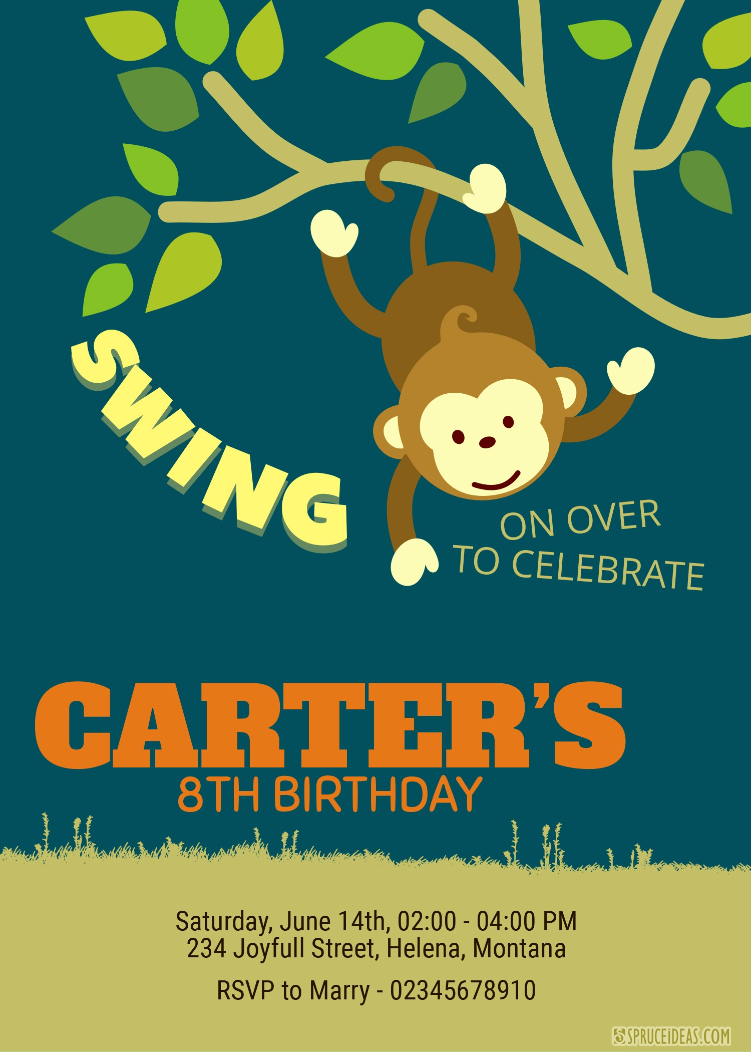 Free Printable Monkey Animal Birthday Invitation Template Idea - Free Printable Monkey Birthday Party Invitations