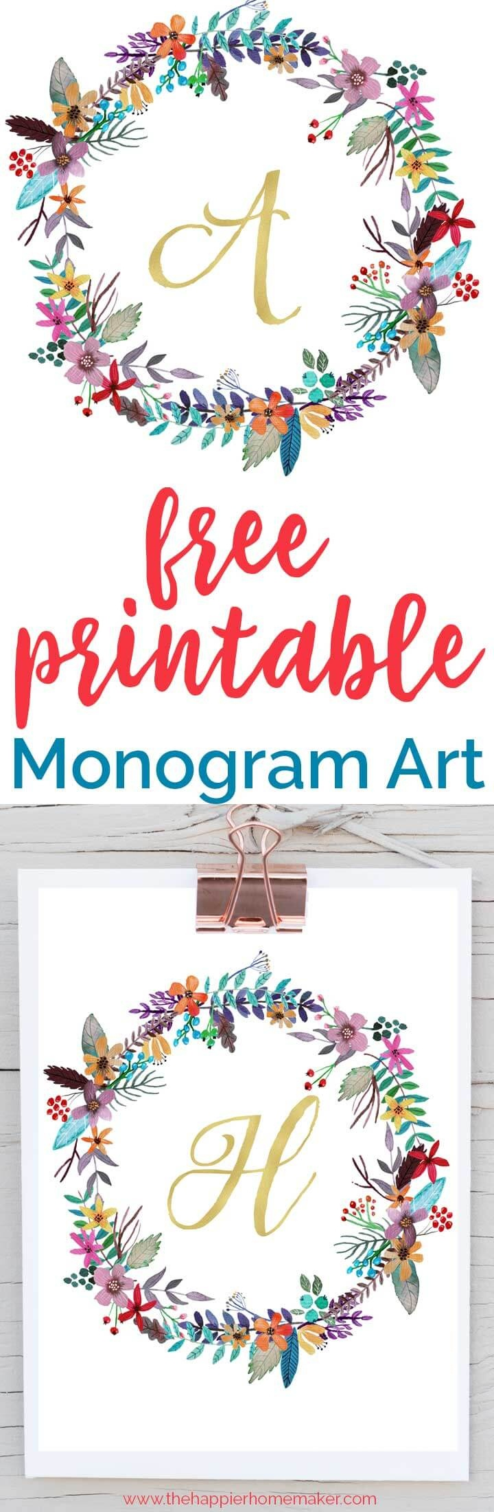 Free Printable Monogram Art | The Happier Homemaker - Free Printable Monogram Letters