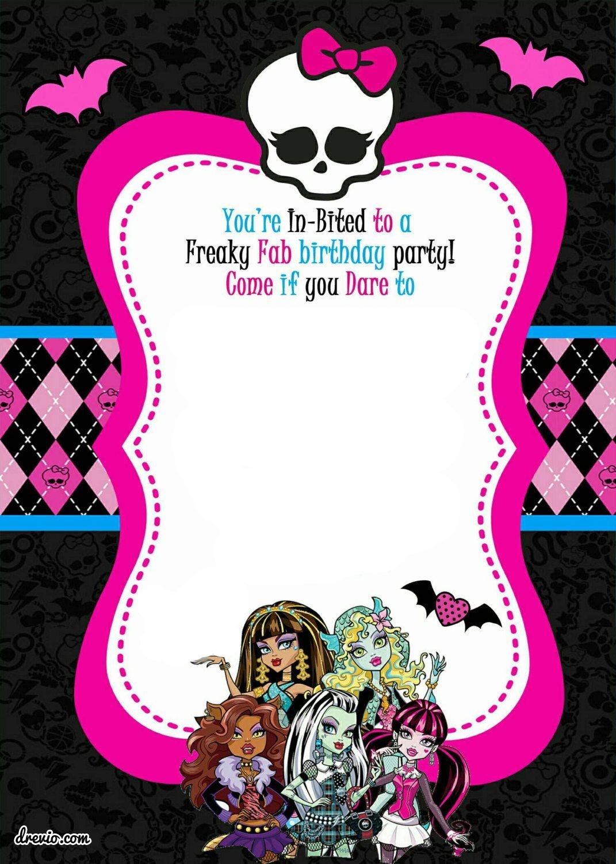 Free Printable Monster High Birthday Invitations | Free Printable - Monster High Cupcake Toppers Printable Free