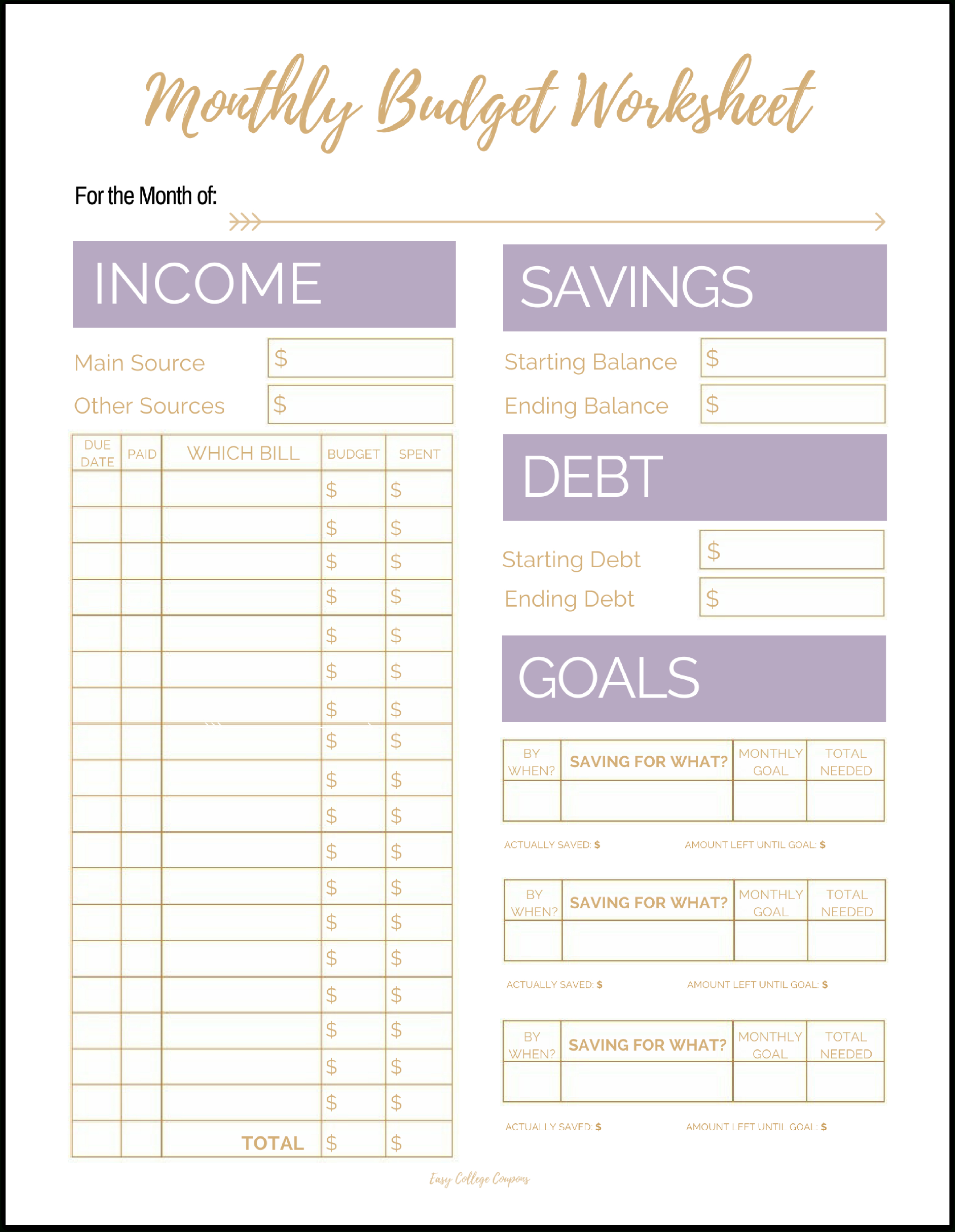 Free Printable Monthly Budget Template - Free Printable Budget Templates