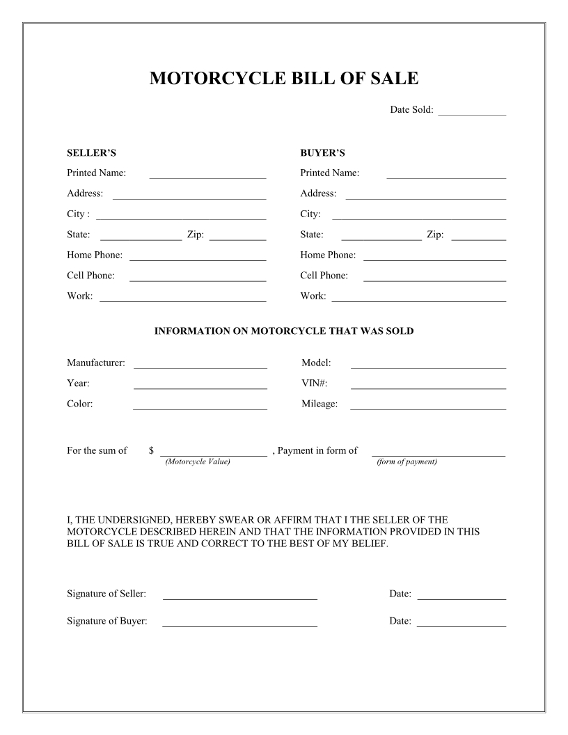 Free Printable Motorcycle Bill Of Sale Form Template - Bill Of Sale - Free Printable Bill Of Sale
